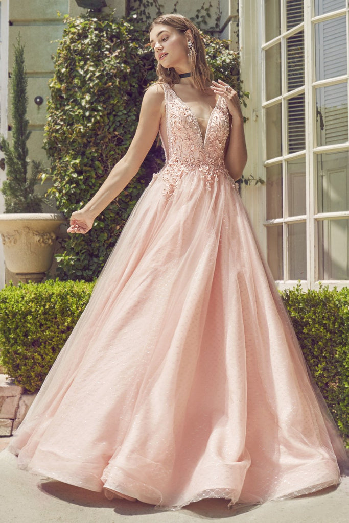 Andrea & Leo A0696 Deep V-Neck with Sheer-Inset White Prom Ball Gown