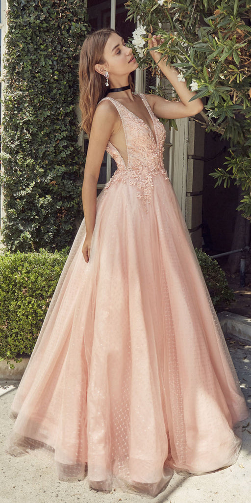 Andrea & Leo A0696 Deep V-Neck with Sheer-Inset Blush Prom Ball Gown