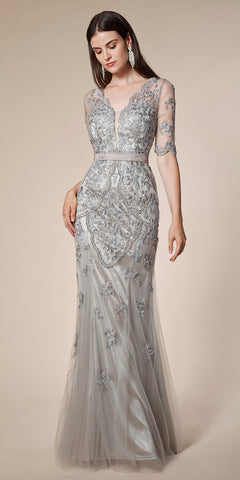 Silver Appliqued Long Formal Dress with Quarter Sleeves