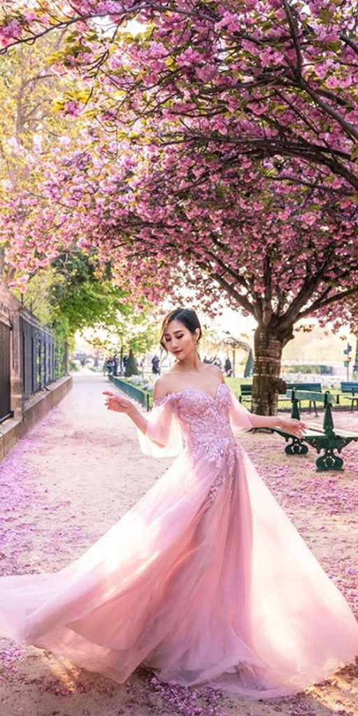 Andrea & Leo A0699 Off-Shoulder Long Prom Dress with Flutter Sleeves Mauve