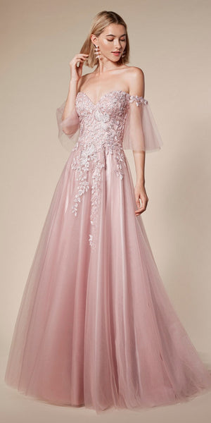 Off-Shoulder Long Prom Dress with Flutter Sleeves Mauve