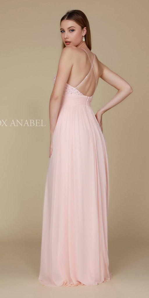 Blush Long Prom Dress Appliqued V-Neck Ruched Waist Back View