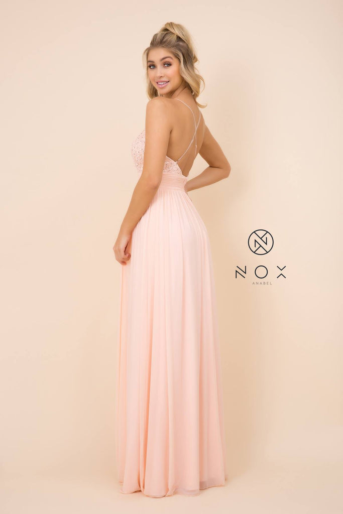 Nox Anabel A070 Long Blush Chiffon A-Line Dress Spaghetti Strap Empire Waist