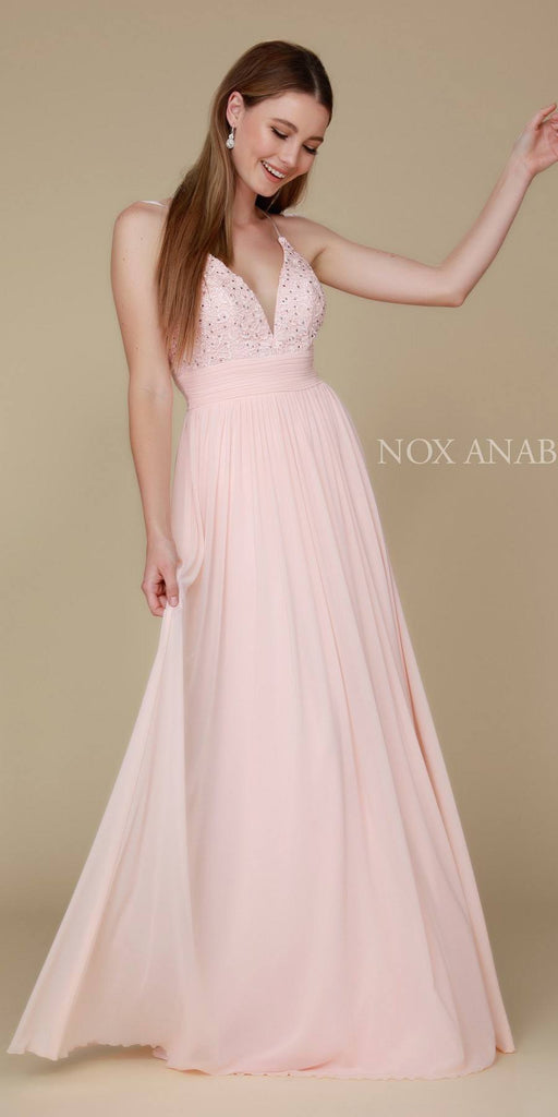 Blush Long Prom Dress Appliqued V-Neck Ruched Waist