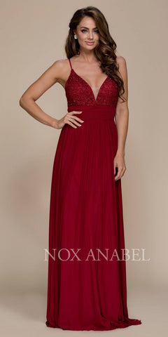 Burgundy Long Prom Dress Appliqued V-Neck Ruched Waist