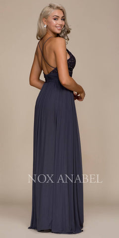 Steel Long Prom Dress Appliqued V-Neck Ruched Waist