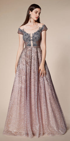 Floor Length A-Line Tulle Gown Blush Jeweled Lace Bodice Leg Slit