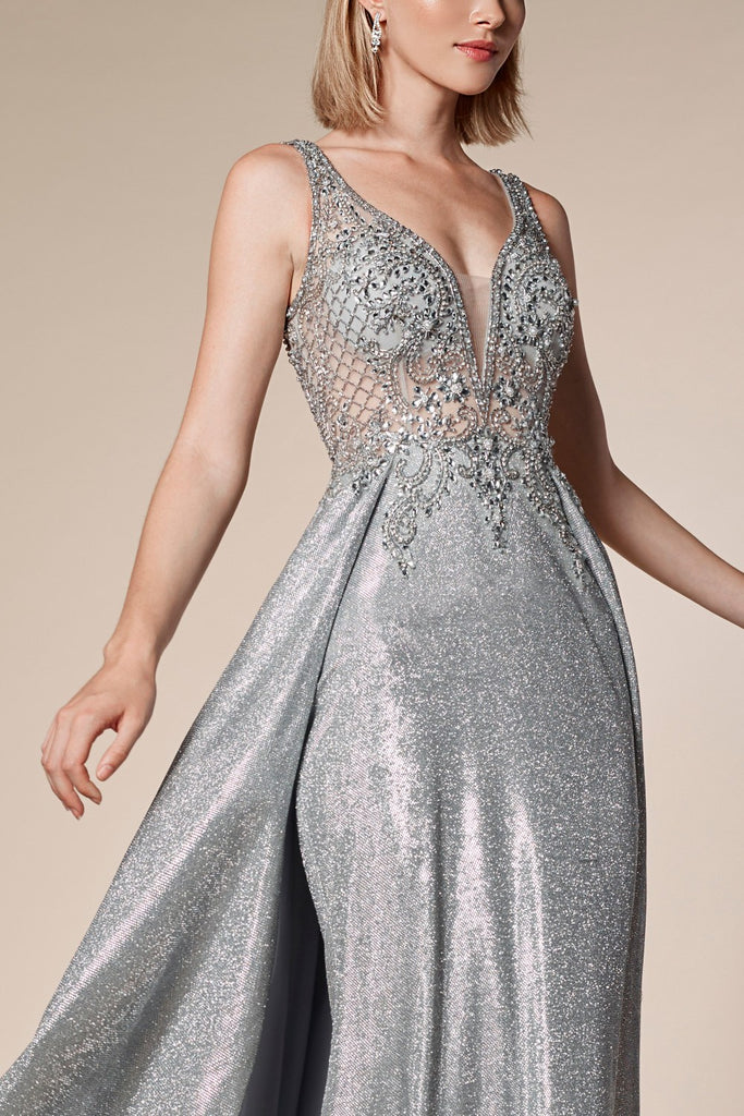 Beaded Top Criss-Cross Back Silver Long Prom Dress