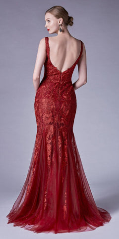 Mermaid Style Appliqued Long Formal Dress Burgundy