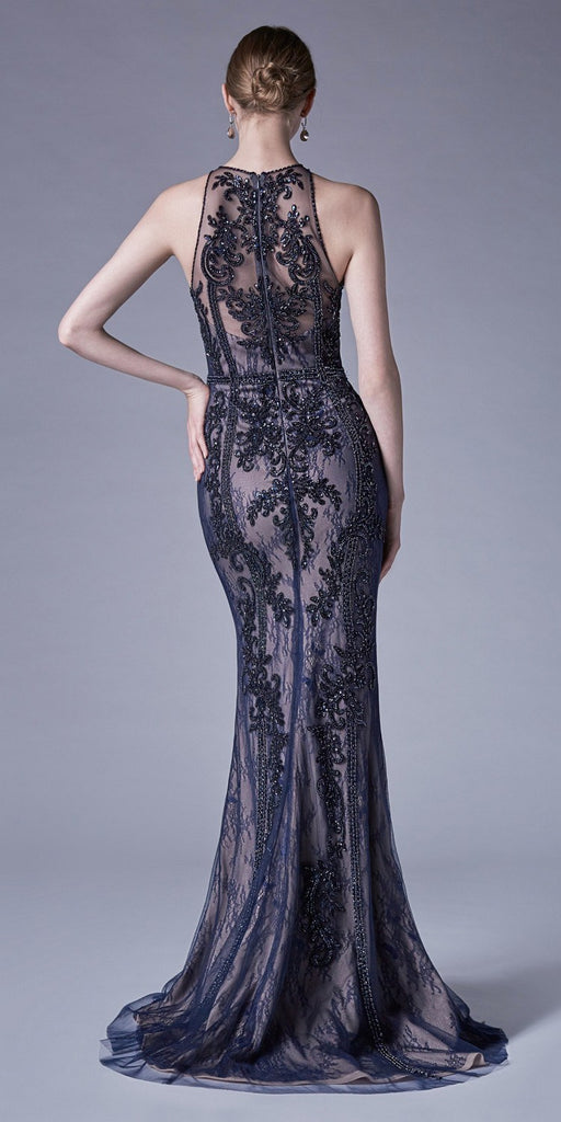 Halter Lace Beaded Long Formal Dress Navy Blue