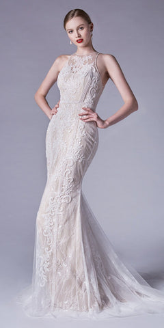 Off White Sleeveless Bead-Embellished Wedding Gown