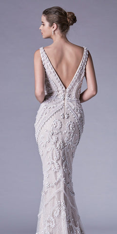 Off White Beaded and Glitterati Evening Gown V-Neck and Back