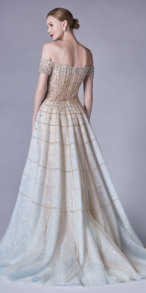Champagne/Blue Off-the-Shoulder Beaded Long Prom Dress