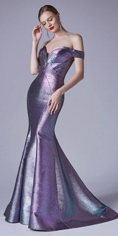 Metallic Off-Shoulder Mermaid Long Prom Dress Opal Blue