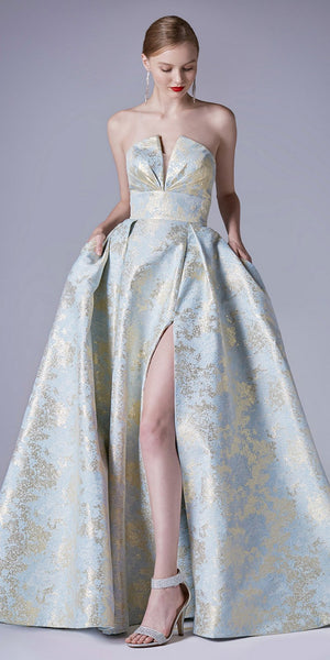 Print Strapless Prom Ball Gown with Slit
