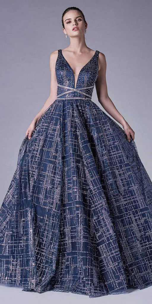 Navy Blue Open-Back Glittery Prom Ball Gown