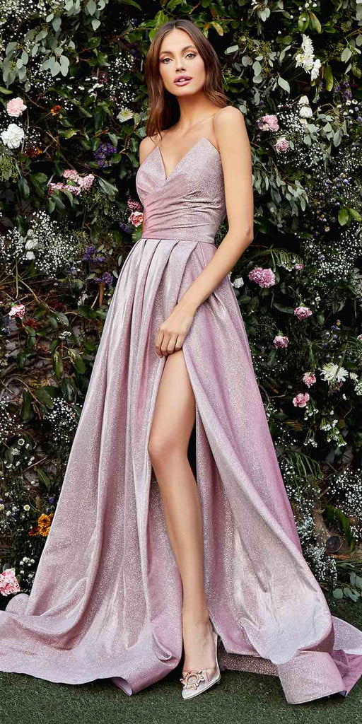 Andrea & Leo A0734 Glitter Strapless Faux-Wrap Long Prom Dress Blush