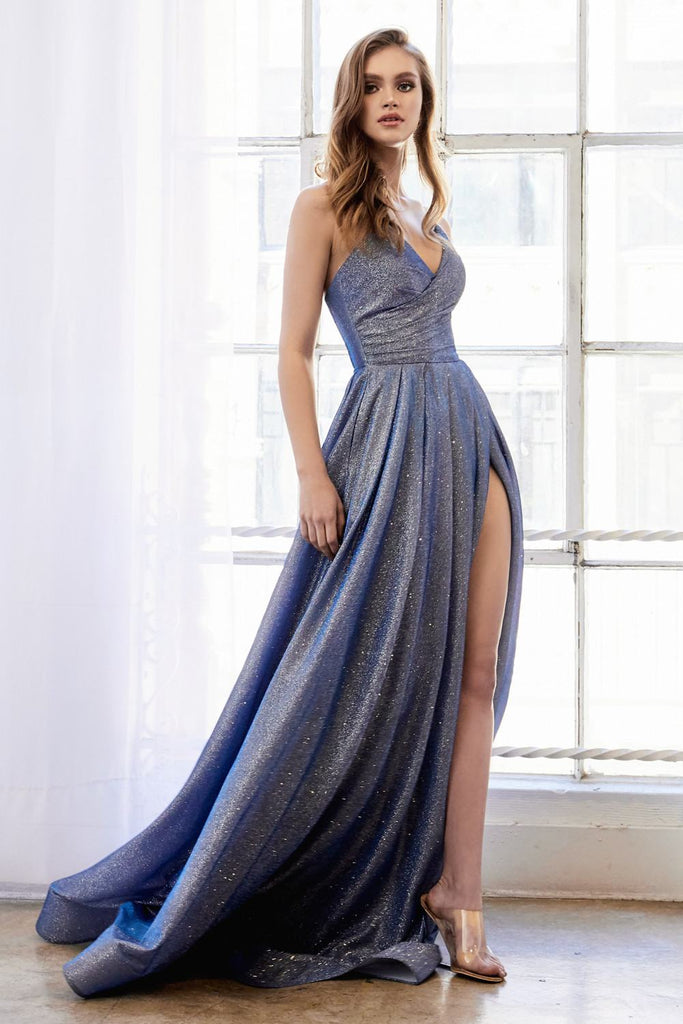Glitter Strapless Faux-Wrap Long Prom Dress Midnight