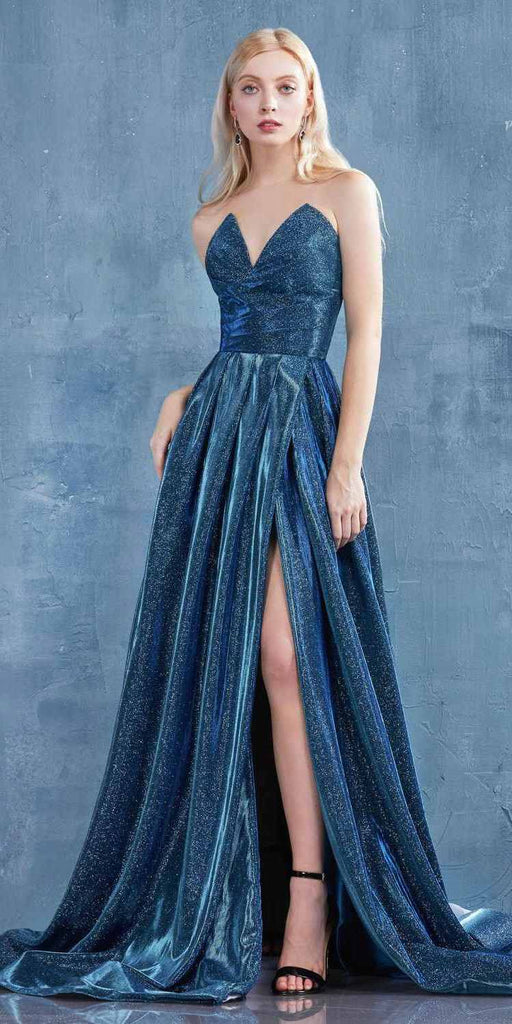 Glitter Strapless Faux-Wrap Long Prom Dress Sapphire