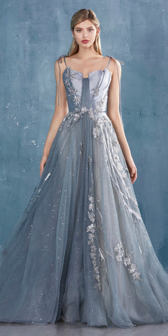 Beaded Bodice Long Prom Dress with Slit Gray