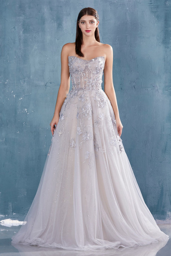 Embroidered Long Formal Dress Strapless Dusty Blue