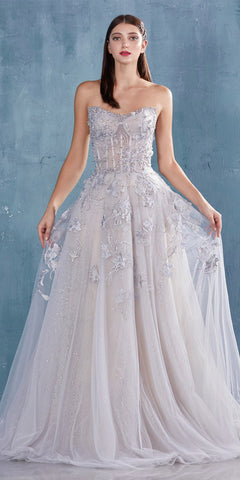 A-Line Beaded Lace Bodice Dress Silver Long Tulle Skirt