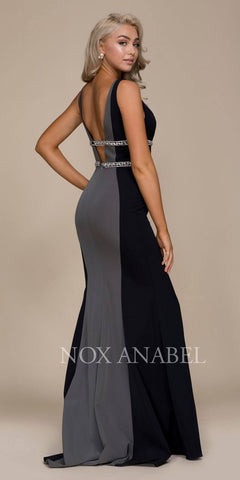 V-Neck Embellished Long Prom Dress Open Back Black-Gunmetal