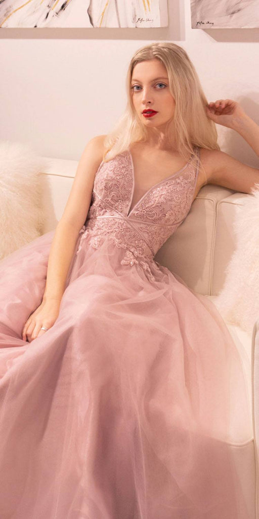 Andrea & Leo A0762 Mauve Appliqued Prom Ball Gown with Stylish Back
