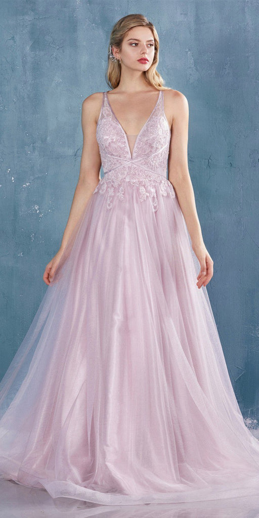 Mauve Appliqued Prom Ball Gown with Stylish Back