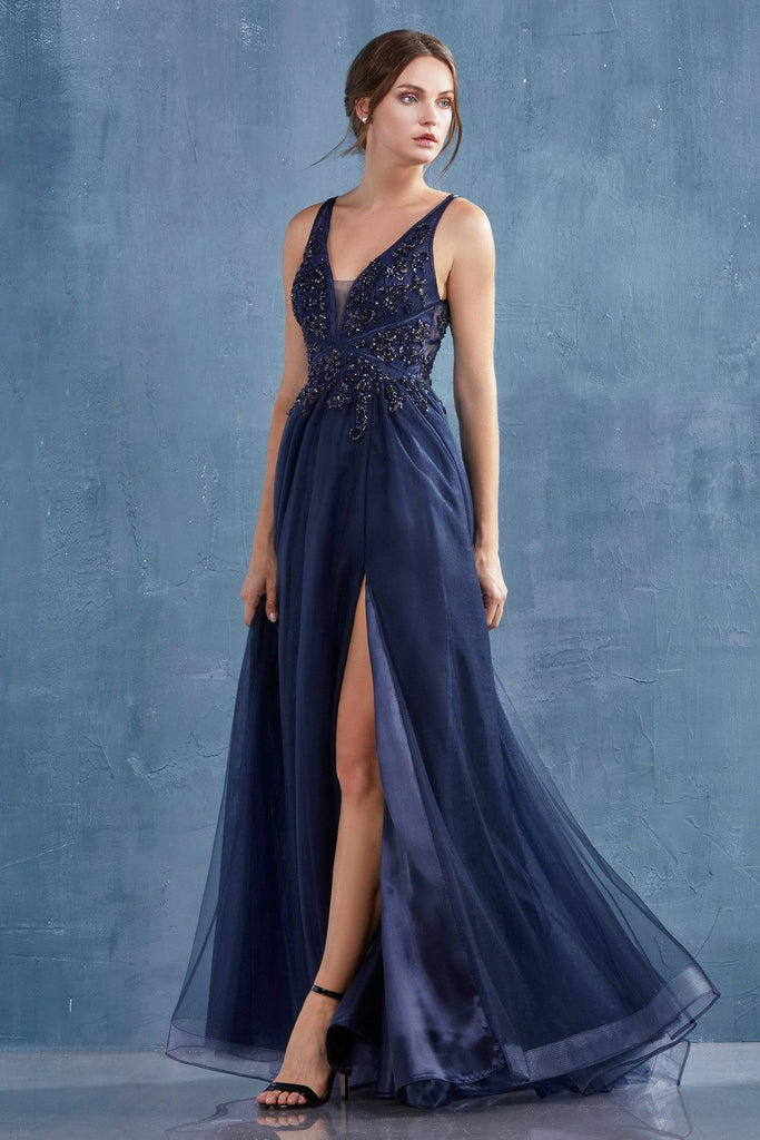 Navy Blue Appliqued Prom Ball Gown with Stylish Back