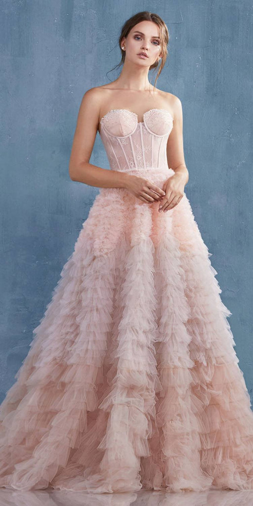 Andrea & Leo A0767 Blush Tiered Long Wedding Dress Corset Back Strapless