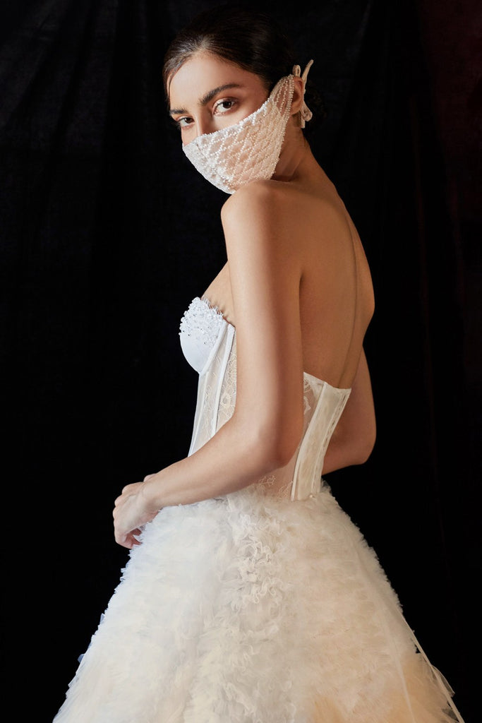Ivory Tiered Long Wedding Dress Corset Back Strapless