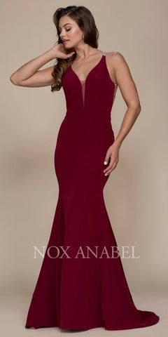 Mermaid Floor Length Prom Gown Strappy Open Back Burgundy