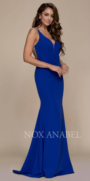 Mermaid Floor Length Prom Gown Strappy Open Back Royal Blue
