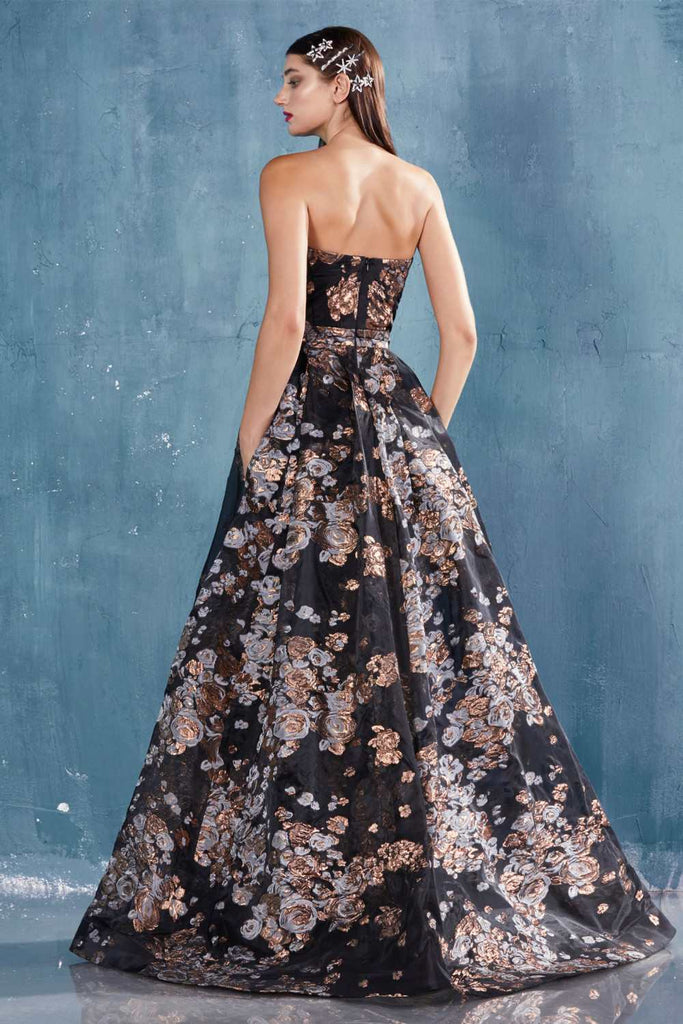 Strapless Printed Long Prom Dress with Overskirt Copper/Black