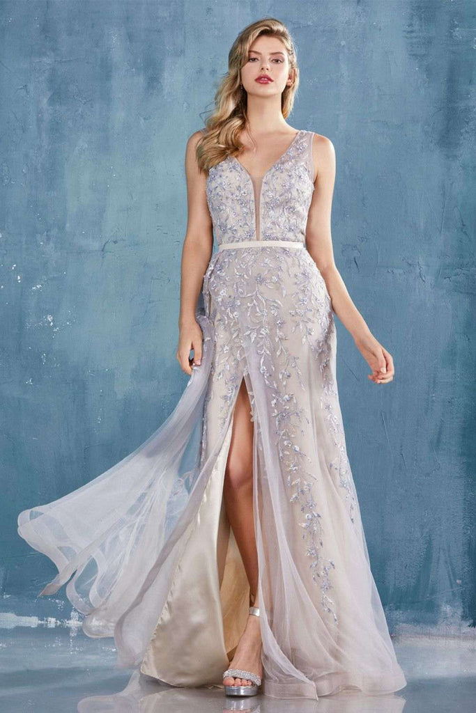 Appliqued Dusty Blue Fit and Flare Long Prom Dress with Slit