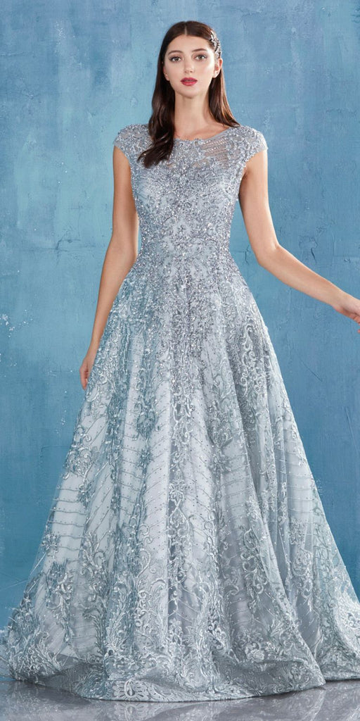 Eucalyptus Lace Embellished Long Prom Dress with Cap Sleeves
