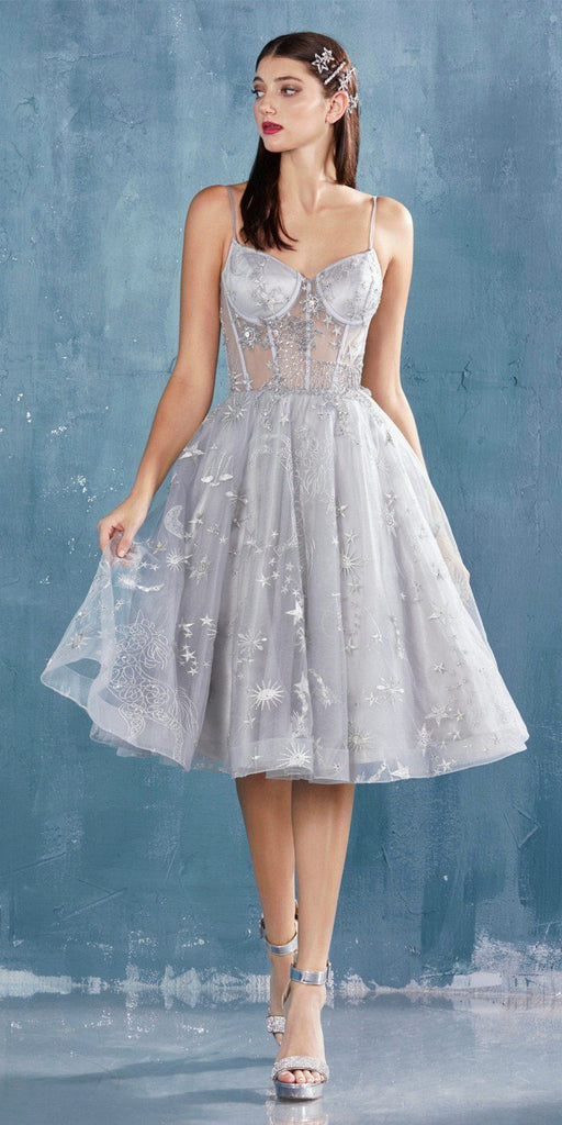 Illusion Bodice Short Prom Dress Silver with Corset Back