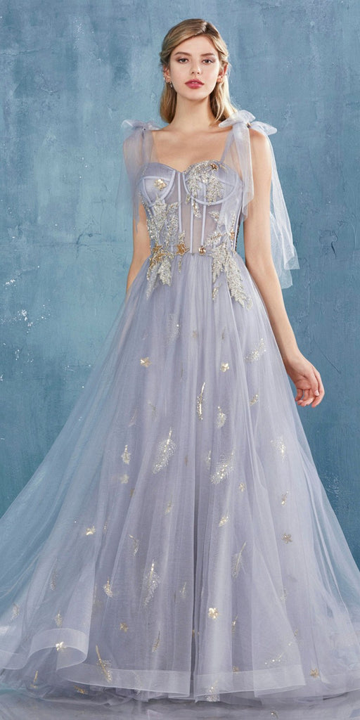 Gray Embellished Long Prom Dress with Spaghetti Straps