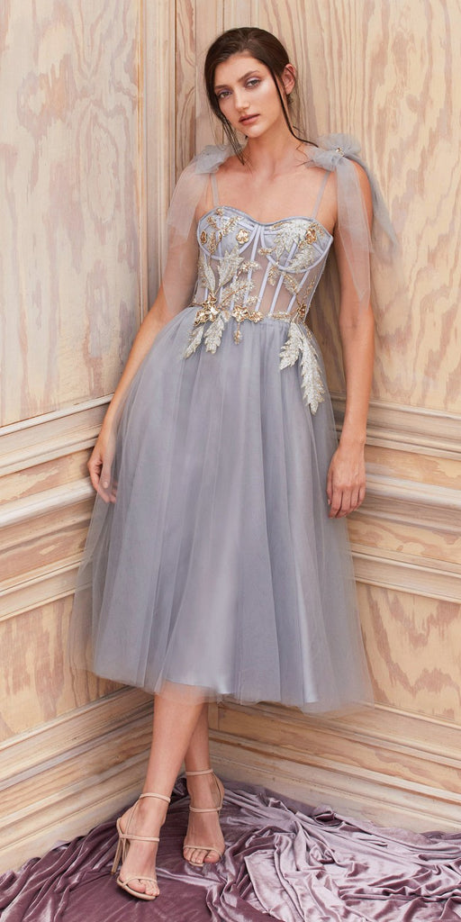 Gray Embellished Short Homecoming Dress with Spaghetti Straps