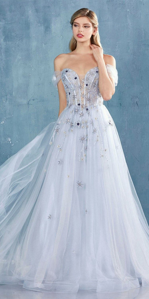 Paris Blue Off-Shoulder Prom Ball Gown with Sweetheart Neckline