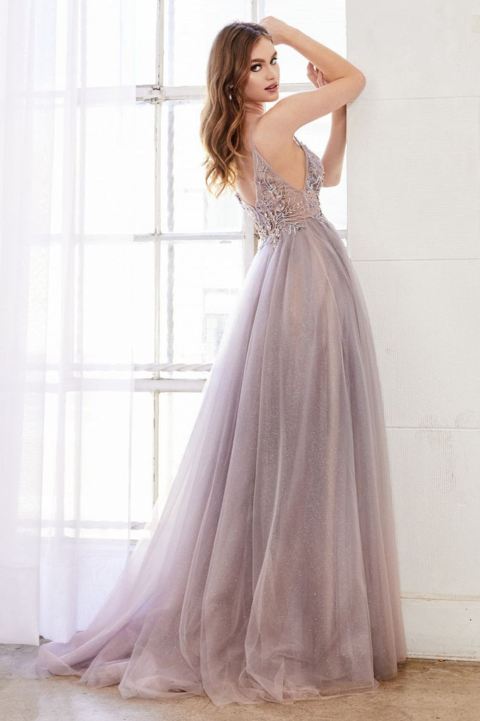 Blush/Mauve Appliqued Long Prom Dress with Sheer-Midriff