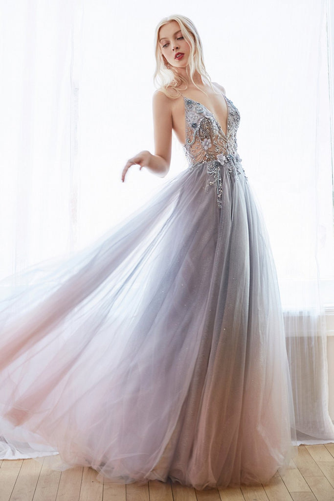 Smokey Blue Appliqued Long Prom Dress with Sheer-Midriff