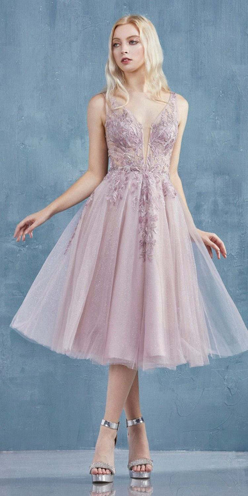 Embroidered Sleeveless Tea-Length Prom Dress Blush
