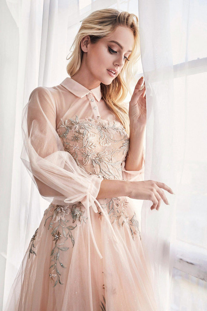 Blush Tea-Length Prom Dress with Illusion Long Sleeves