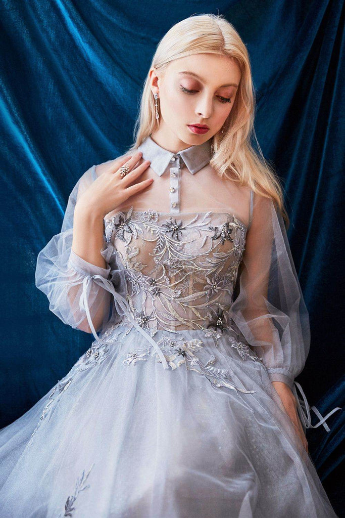 Moonlight Blue Tea-Length Prom Dress with Illusion Long Sleeves