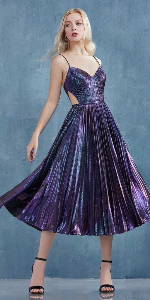 Metallic Galaxy Tea-Length Homecoming Dress with Side Cut-Outs