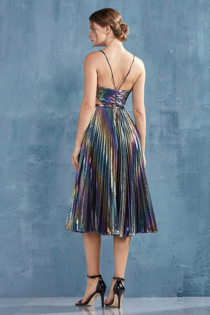 Rainbow Galaxy Tea-Length Homecoming Dress with Side Cut-Outs
