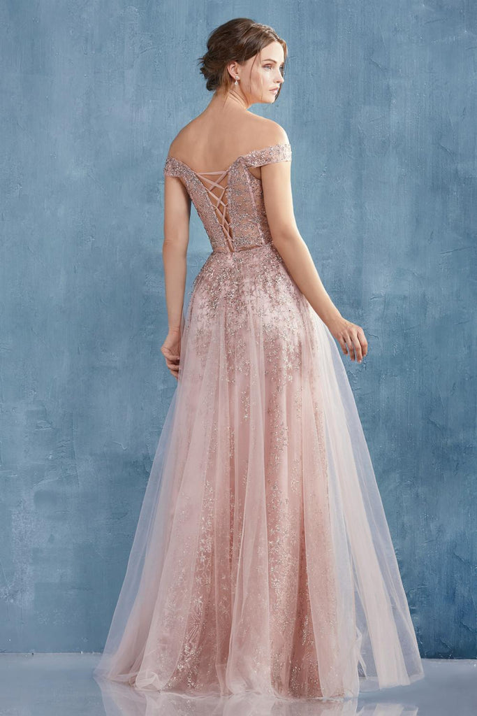 Rose Gold Off-Shoulder Glittered Long Prom Dress with Lace-Up Back