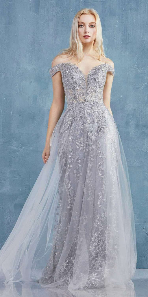Silver Off-Shoulder Glittered Long Prom Dress with Lace-Up Back